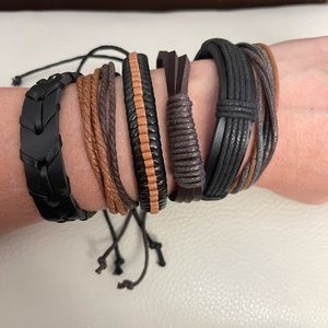 6 Braided Leather Bracelets